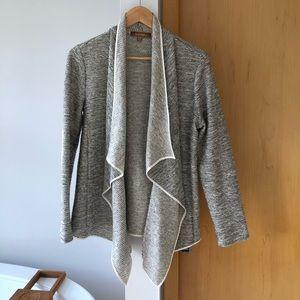 White and Black Drape Sweater